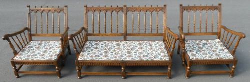 Ercol Elm Framed Three Piece Upholstered Lounge Suite